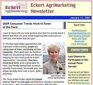 Jane Eckert keeps readers informed on the latest trends in agritourism and farm marketing through our newsletter!  Subscribe today!